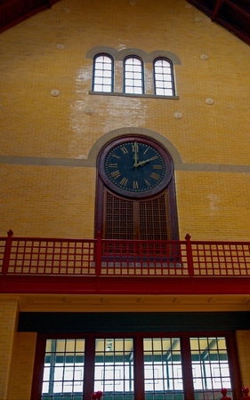 Clock Inside the Hoboken Railroad Station, New Jersey Stock Photo - 13226048