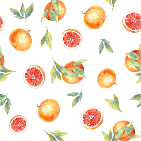 Watercolor seamless pattern with grapefruit. food design of backgrounds