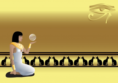 Egyptian girl with a magic ball and the Eye of Horus on a gold background with cats   Vector