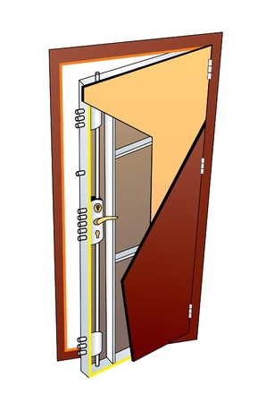 diagrammatic: picture of the internal structure of a metal door entrance