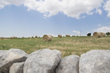 drywall: drywall and bales of hay