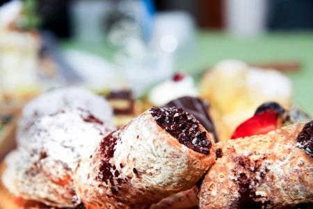 cannoli pastry: assortment of Italian pastries in closeup