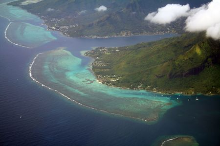 Coral reef and lagoon, south paciific islands, Moorea, French Polynesia