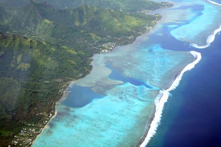 moorea: Pacific island lagoon, Moorea, French Polynesia, aerial view