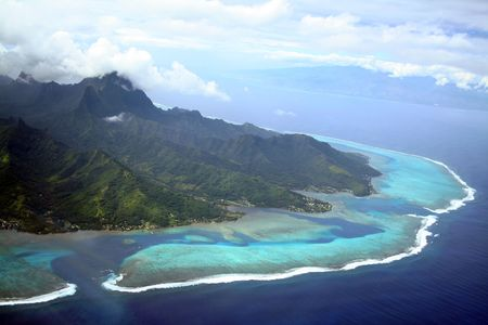 moorea: Moorea and Tahiti Islands in South Pacific, French Polynesia Stock Photo