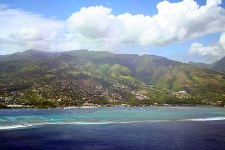 Tahiti coral reef and lagoon aerial view photo