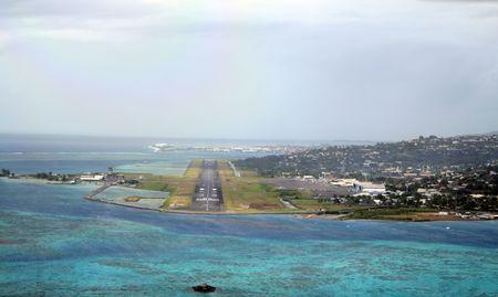 Tahiti airport runway at landing photo