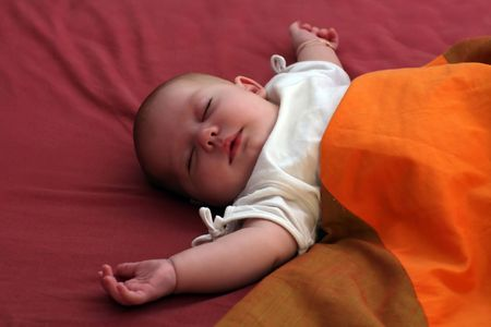 baby sleeping with arms wide spread Stock Photo - 541867