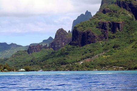 tahitian: Tahitian mountain on Moorea island Stock Photo