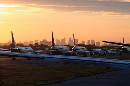 airplane departing from New York JFK Airport Standard-Bild