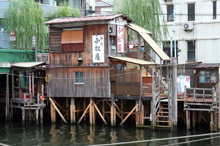 old cabin on tokyo river, downtown Stock Photo