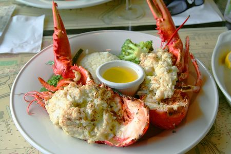 stuffed lobster plate with butter