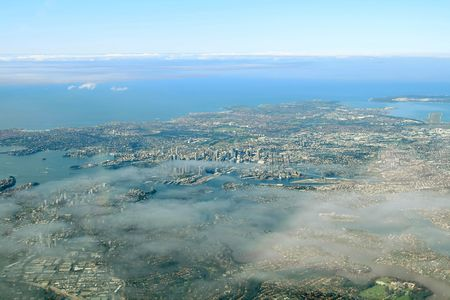 Sydney bay aerial view, with light cloud coverage Stock Photo - 560721