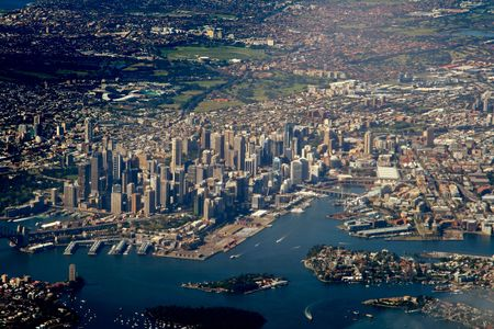 sydney harbour bridge: sydney downtown aerial view Stock Photo