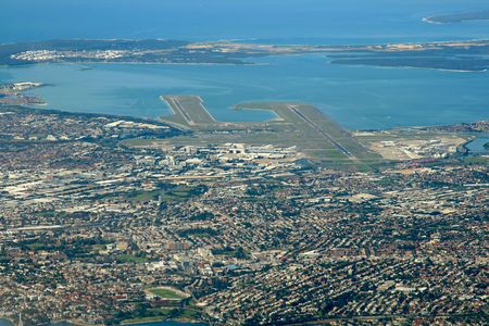 sydney airport area, aeial view
