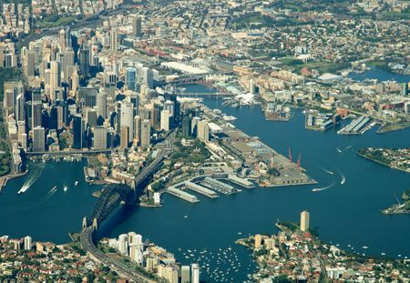 Sydney city harbor aerial view Stock Photo