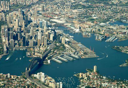 Sydney city harbor aerial view Standard-Bild