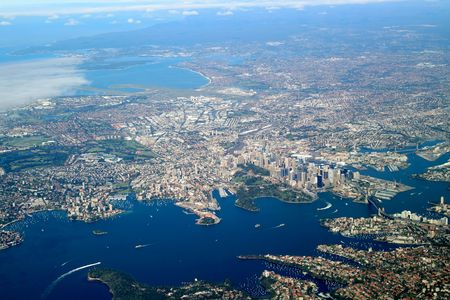 sidney: sidney bay area, aerial view