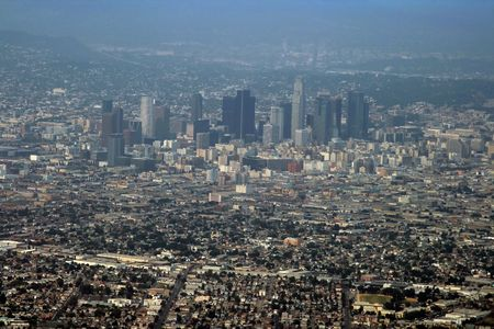 lax: downtown los angeles aerial view