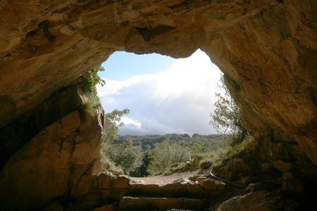 stone cave exit Stock Photo