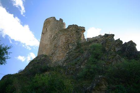 high castle on sky background photo