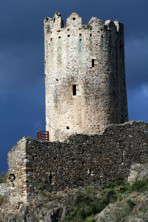 old stone castle tower, france photo