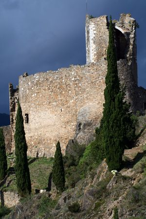 castle ruins with a tower photo