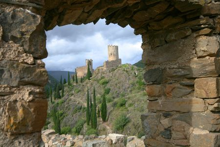 lastours castle in southern france photo