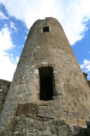 old tower ruins in Lastours, france photo