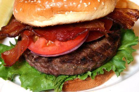 big hamburger close up view