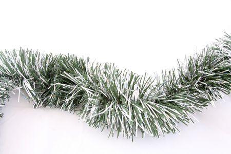 green curvy christmas garland background