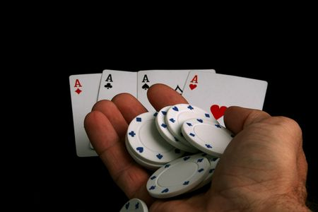 handful of poker chips and aces Stock Photo - 586813