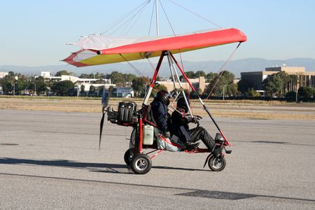 airplane ultralight: ultralight experimental airplane on the ground Stock Photo
