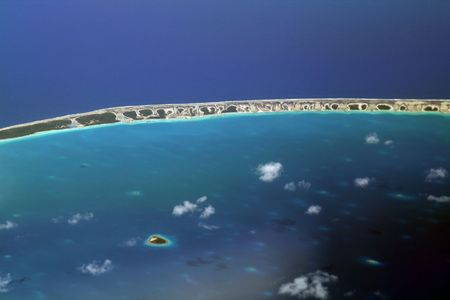 pacific ocean atoll in french polynesia Stock Photo