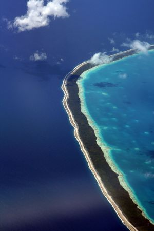 coral reef island in french polynesia Stock Photo