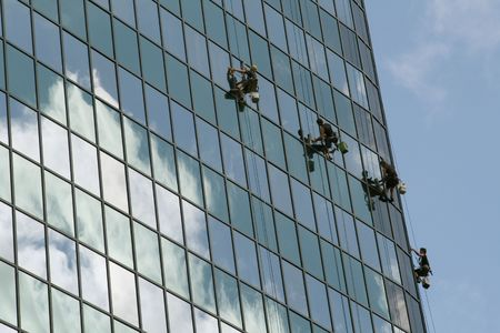 window cleaning team on a buiding