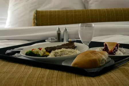 room service: htel room service dinner tray Stock Photo