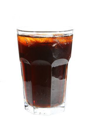 glass of cola soda with ice Stock Photo