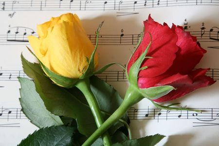 music score: red and yellow rose on a music score