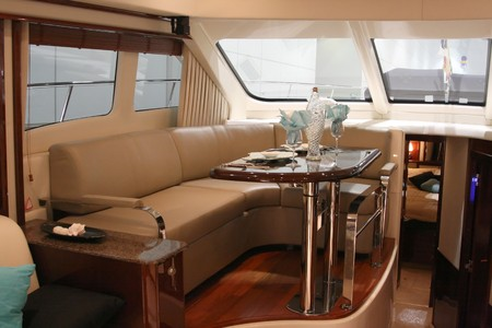motor yacht dining room and cabin