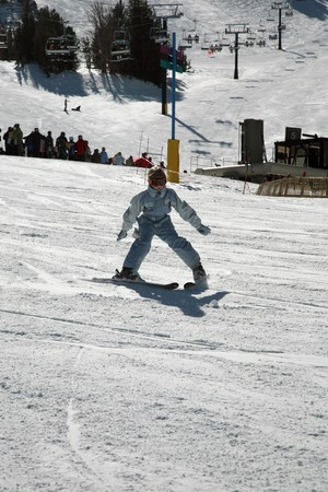 beginner: beginner girl on skis at california station