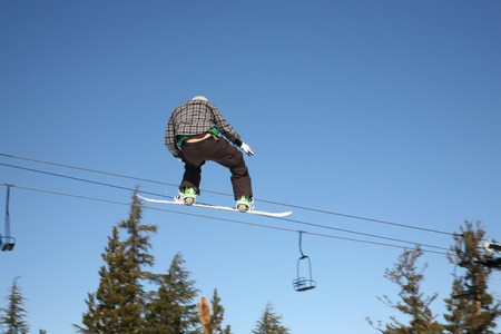 snowboarder high jump on blue sky photo