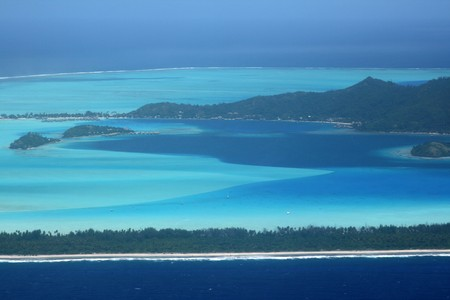 bora bora island south part with resorts photo