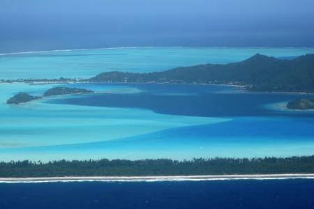 bora bora island south part with resorts
