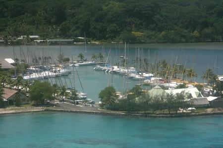 tropical marina in a coral reef island photo
