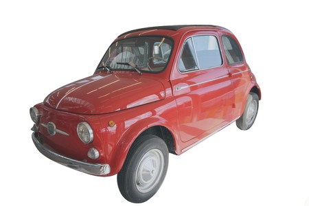 very small economic red car Stock Photo
