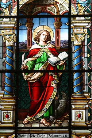stained glass window in a german church Stock Photo