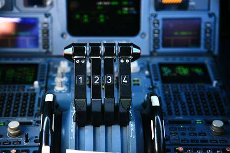 jet airplane throttle in the cockpit Standard-Bild