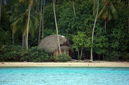 remote cabin on a desert island beach