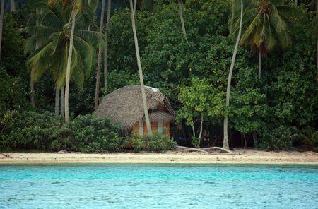 blue lagoon: telecomando cabina su un'isola deserta spiaggia Archivio Fotografico